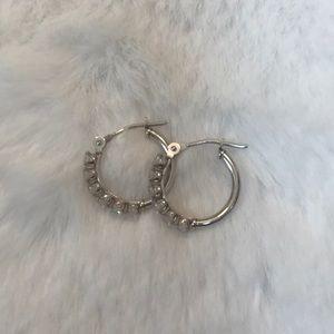 14K white gold Diamonique hoop earrings